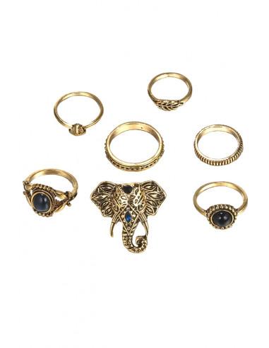 Set 7 inele etnice, elefant cu cristale si verigi cu model in relief