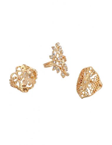 Set 3 inele elegante, late, model inflorat cu cristale mici transparente