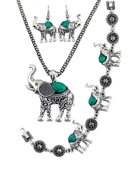 Set argintiu indian, colier, bratara si cercei, cu elefanti si pietre colorate