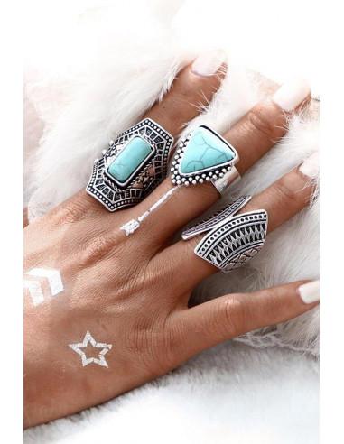 Set 3 inele etnice masive, cu motive traditionale si pietre geometrice
