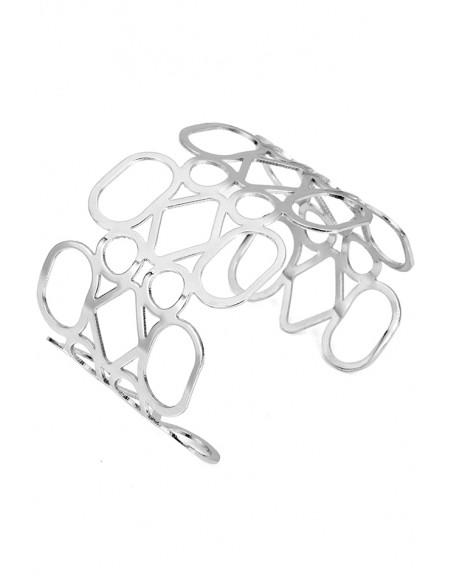Bratara eleganta tip cuff, forme geometrice, cerc, oval si romb