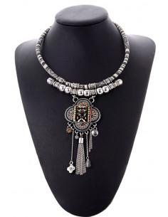Colier etnic, snur din tesatura colorata, medalion floral cu cristale si lantisoare