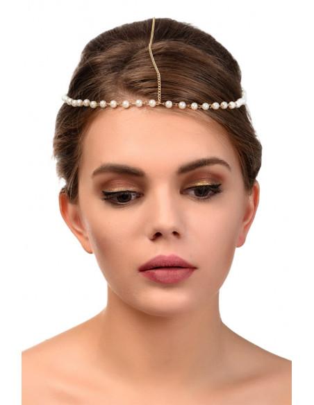 Bentita pentru par cu perle albe si lantisor pe mijloc
