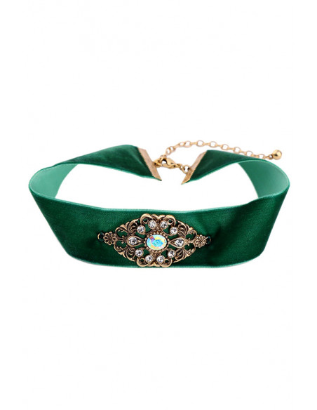 Colier choker vintage, catifea lata verde si medalion inflorat, cu cristale