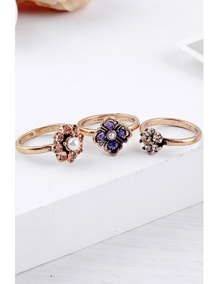 Set 3 inele vintage, flori colorate cu cristale si perlute