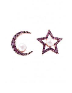 Cercei eleganti, steluta si semiluna cu cristale si perle