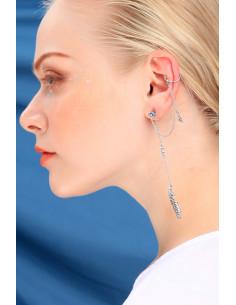 Cercel ear cuff, frunza cu cristale, steluta si lantisoare