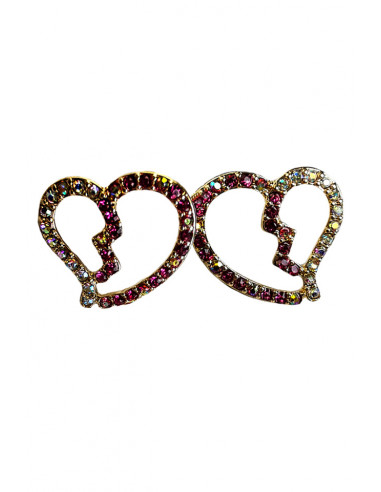 Cercei eleganti, inimioare cu cristale mici cu reflexii multicolore