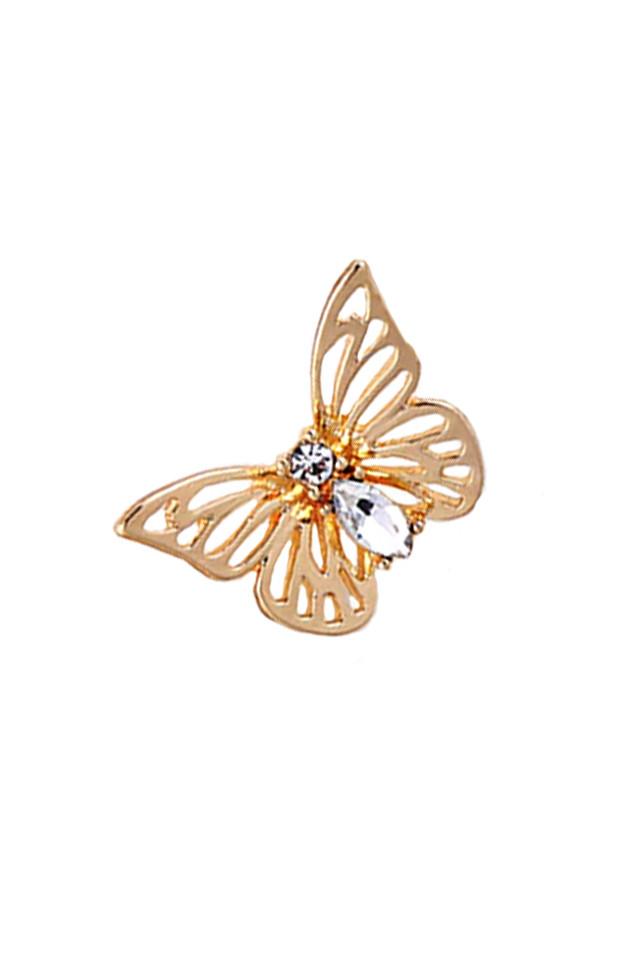 Cercel ear cuff, fluture cu cristale si clips