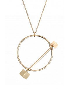 Colier elegant, lantisor subtire lung, cu medalion cerc cu 2 cuburi