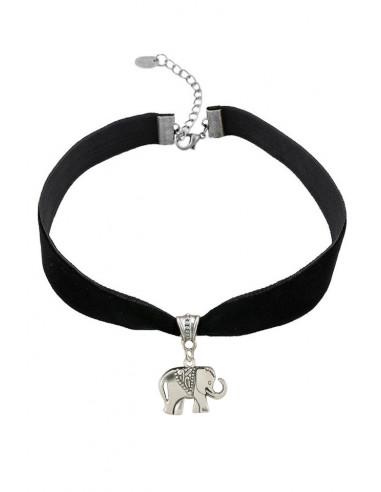Colier choker din catifea neagra, cu medalion Elefant