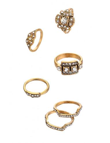Set 6 inele vintage, suprapozabile, model geometric cu cristale