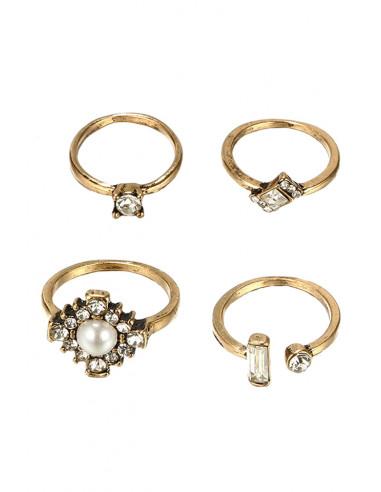 Set 4 inele vintage, pentru mijlocul degetelor, cu cristale fatetate si perlute
