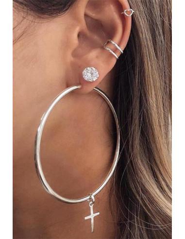 Set cercei si ear cuff cu inele foarte mari, cruciulite, inimioara si cristal