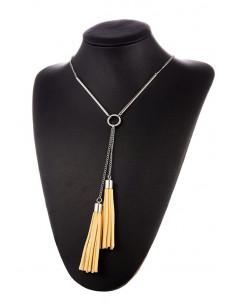 Colier elegant, lantisor cu 2 tije metalice si canafi din piele eco
