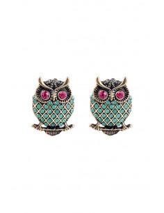 Cercei eleganti, Jade Owls, cu cristale mici verzi si roz