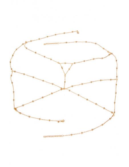 Lant de corp din lantisoare cu bilute metalice si triunghi pe piept