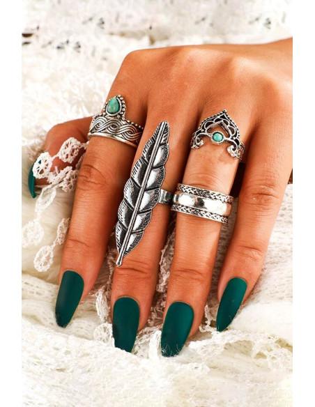 Set 4 inele boho cu frunza lunga, margele turcoaz si modele etnice