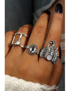 Set 3 inele boho cu elefant si cristale albe