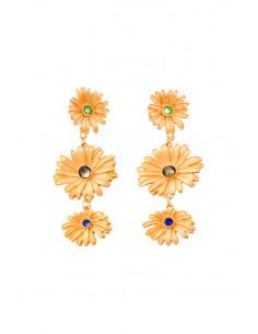 Cercei statement metalici, 3 flori mari, cu cristale in centru