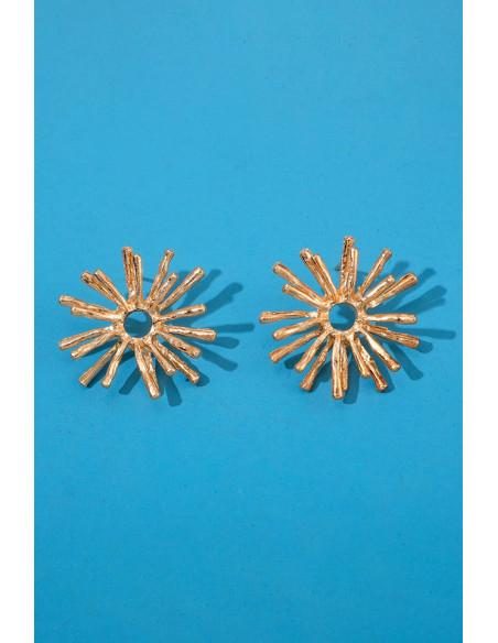 Cercei statement metalici, flori mari de cicoare, cu petale subtiri