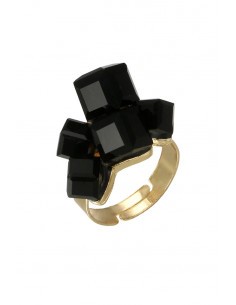 Inel statement masiv, cu cristale cubice negre