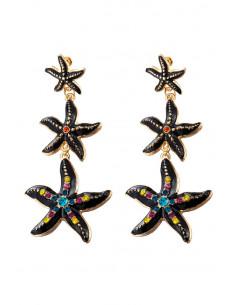 Cercei statement metalici, 3 stele de mare, cu cristale si email