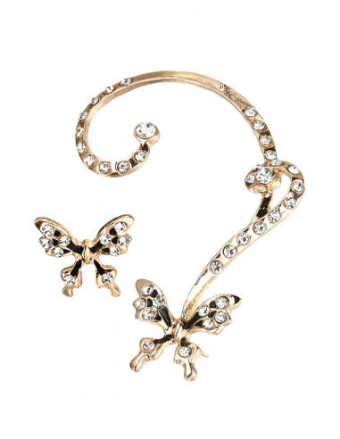 Set cercei ear cuff, fluturi cu cristale transparente, pictati manual