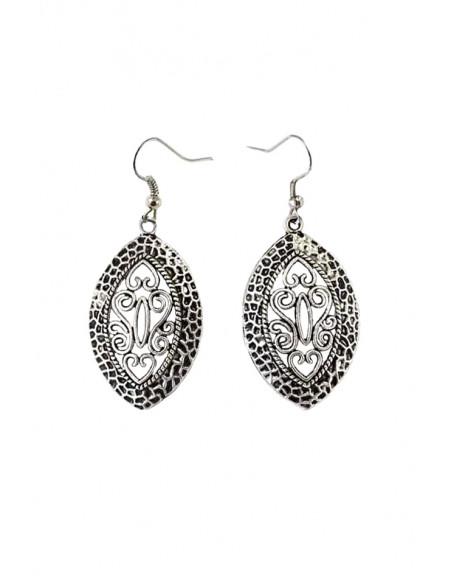 Cercei argintii indieni, model etnic oval decupat