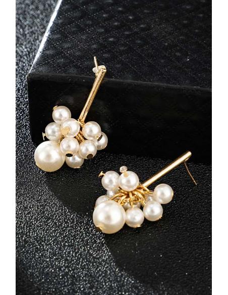 Cercei eleganti, ciorchine de perle pe tija metalica