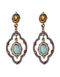 Cercei de inspiratie etnica, medalioane cu cristale si piatra ovala