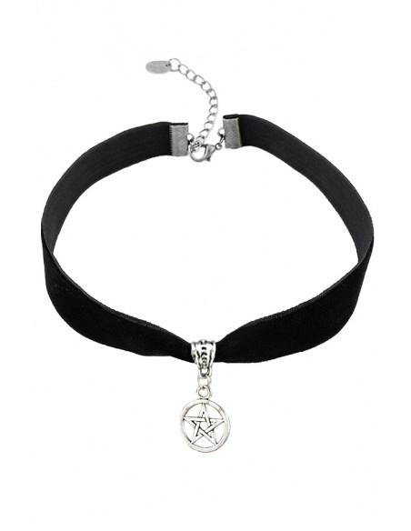 Colier choker din catifea neagra, cu medalion Pentagrama