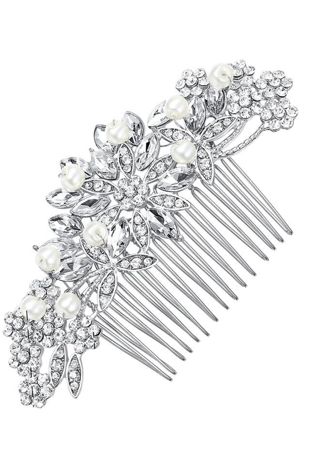 Pieptene pentru coc, model de mireasa, cu flori, cristale si perle