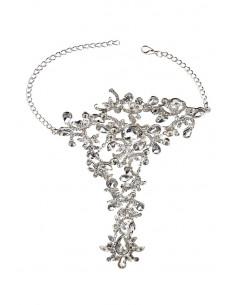 Bratara cu inel eleganta, de mireasa, flori cu cristale picatura si lantisoare