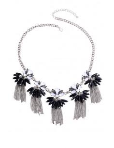 Colier elegant, lant gros cu medalioane decorate cu cristale, margele lungi si lantisoare