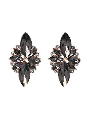 Cercei luxury Morning Star, floare cu cristale ascutite