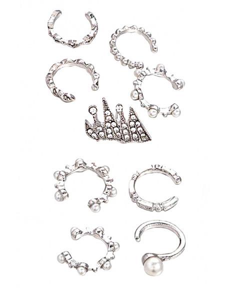 Set 9 cercei si ear cuff, verigute cu perle mici si cristale