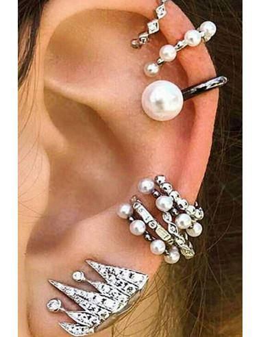 Set cercei si ear cuff, verigute cu perle mici si cristale