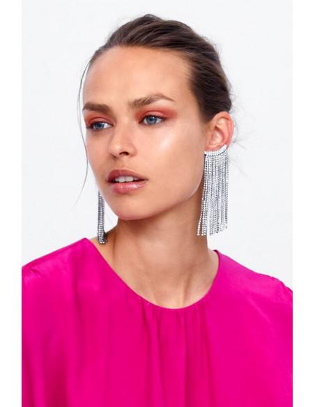 Cercel ear cuff elegant, pe toata urechea, cu canafi lungi din cristale