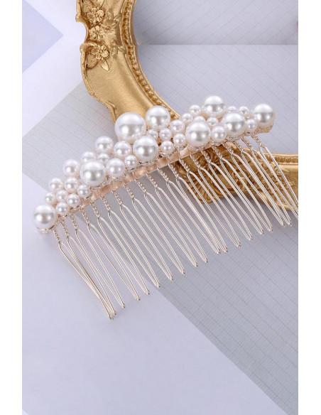 Pieptene pentru coc, model de mireasa, cu perle sidefii