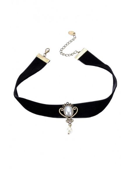 Colier choker din panglica de catifea neagra si medalion cu perle