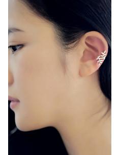 Cercel ear cuff, model spiralat ramura cu frunzulite