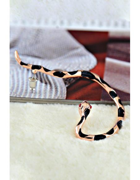 Cercel ear cuff, model sarpe auriu cu pete negre si ochi rosii