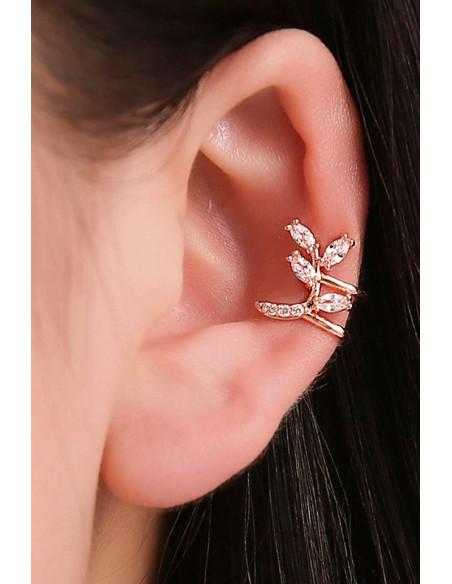 Cercel ear cuff, ramura cu frunzulite si cristale zirconii cubice