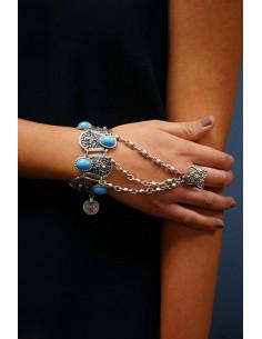 Bratara cu inel, model indian cu floare pe inel si margele turcoaz