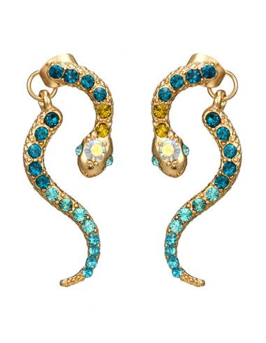Cercei eleganti, Bindi Snakes, cu cristale in nuante de bleu si galben