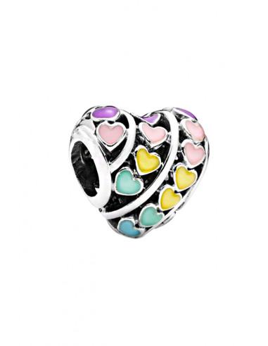 Charm placat cu argint, in forma de inima, cu inimioare mici multicolore