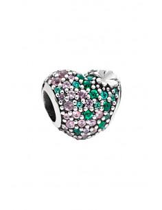 Charm pentru bratara, in forma de inima, cu cristale roz si verzi