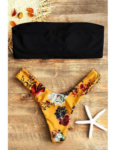 Costum de baie vintage, slip brazilian galben cu flori si sutien bandeau