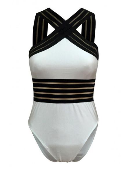 Costum de baie intreg, cu benzi late semitransparente